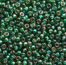 Toho 11/0 Seed Beads Silver Lined Rainbow Green Emerald 2036 - 10 grams